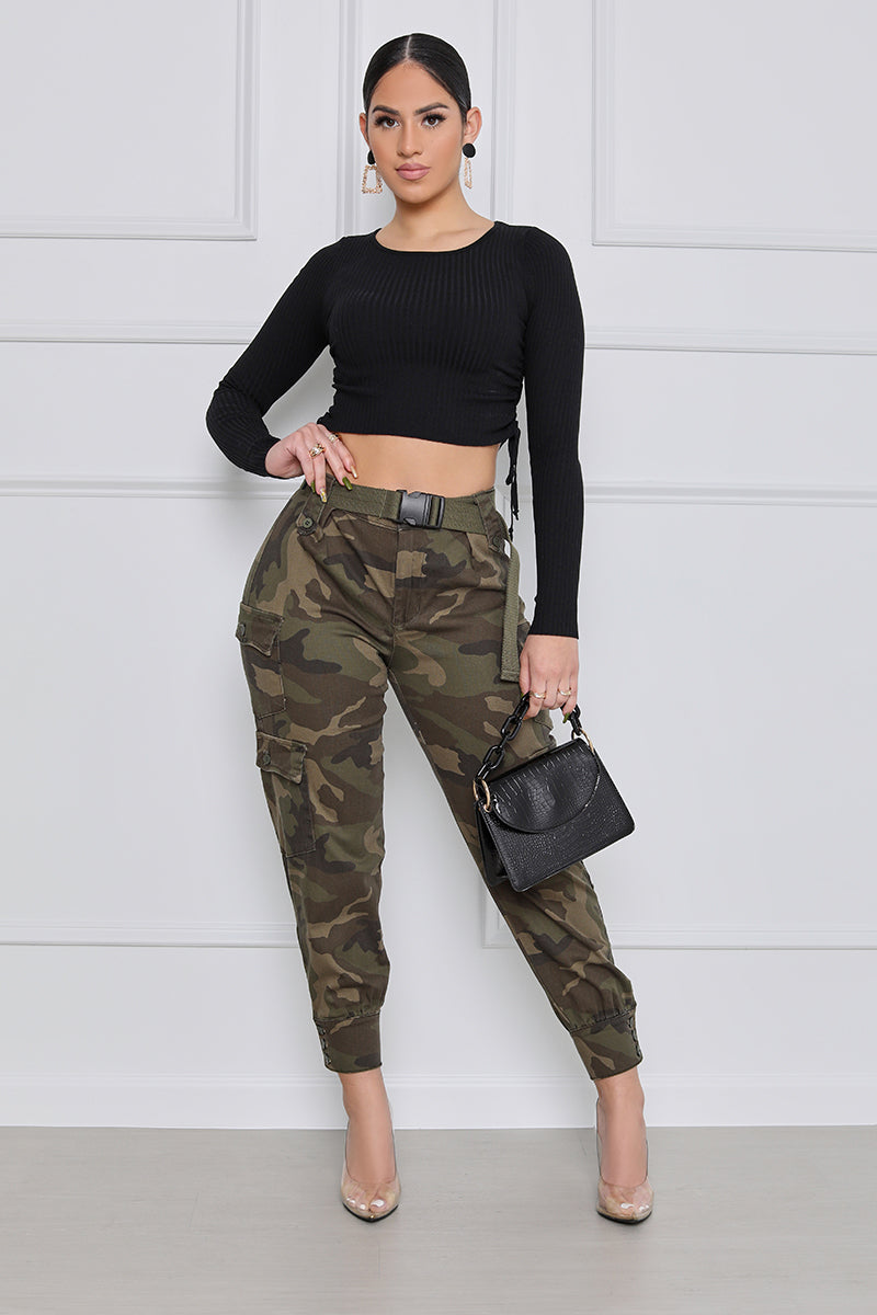Charged Up High Waist Camo Cargo Pants