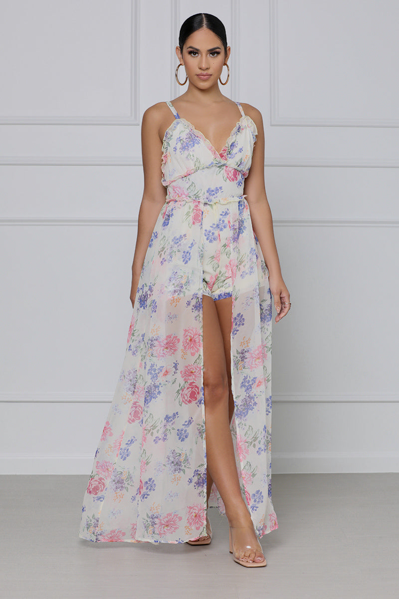 Just a Dream Floral Maxi Romper (Yellow Multi)