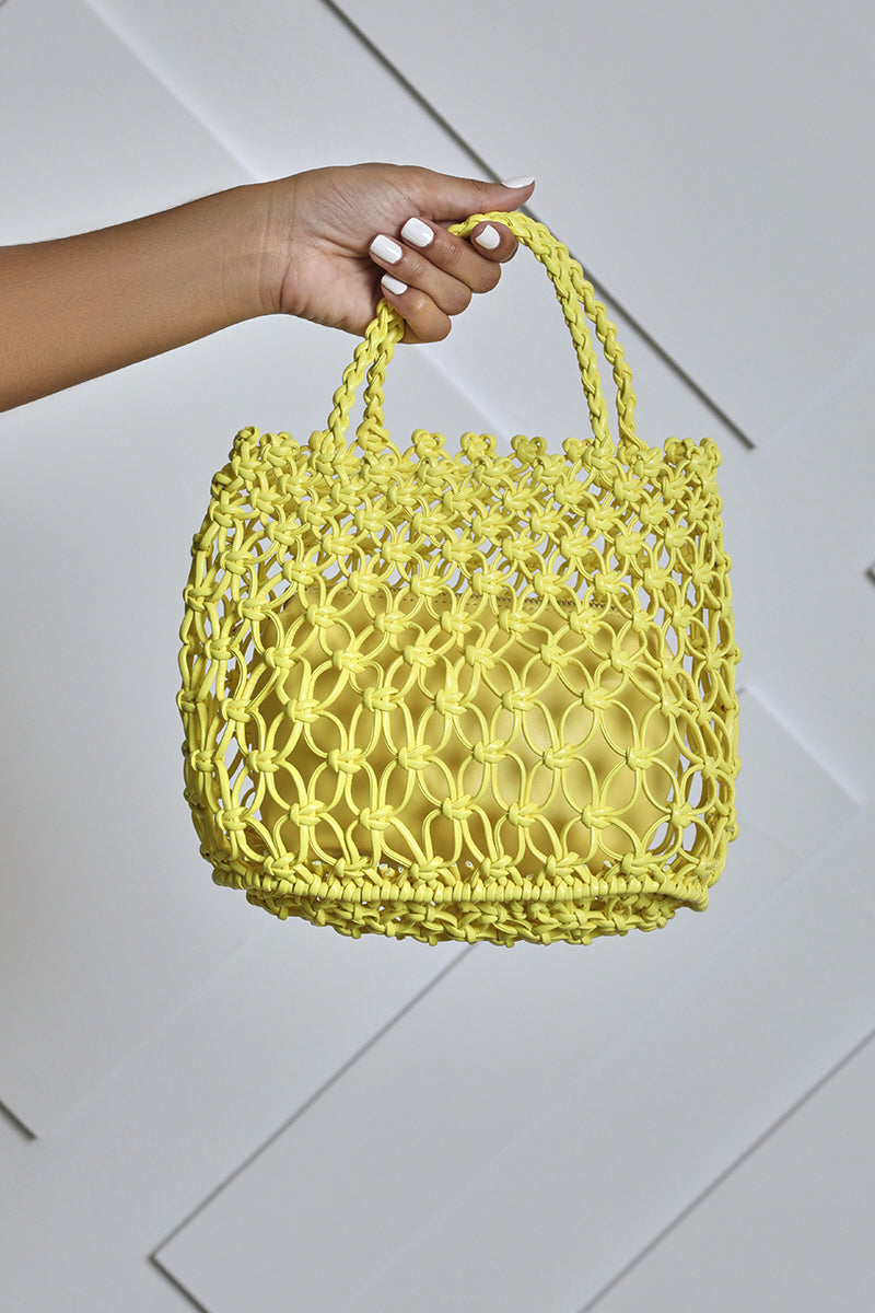 Braided Faux Leather Mini Bag (Yellow)