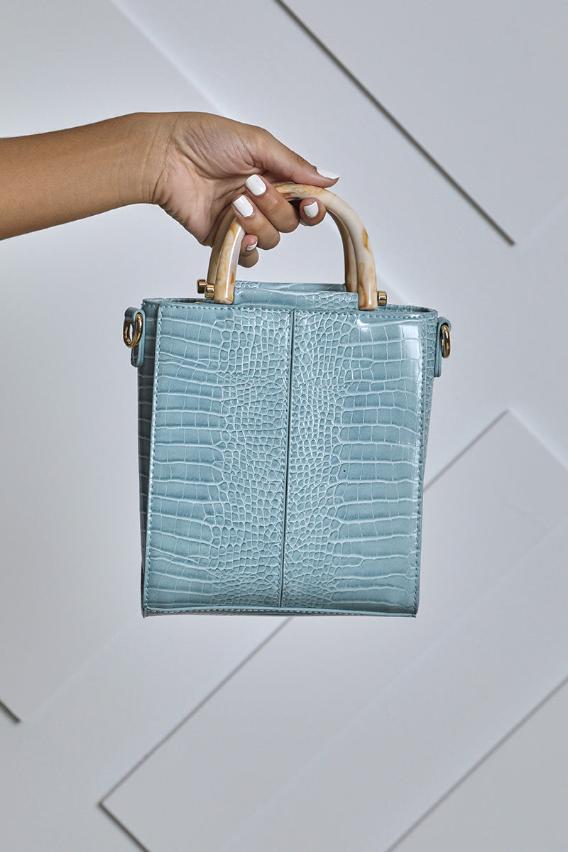Faux Croc Structured Mini Bag (Blue)