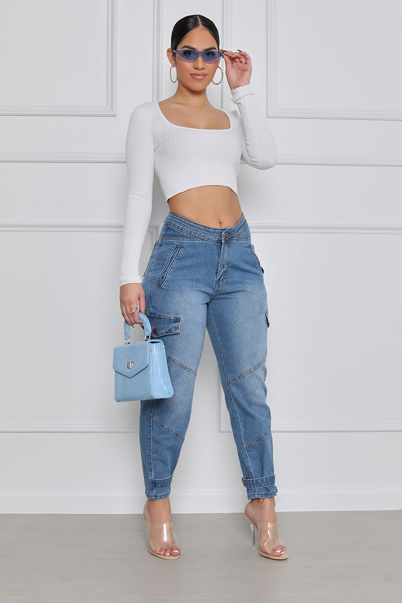 Movin' On Up High Waist Cargo Jeans