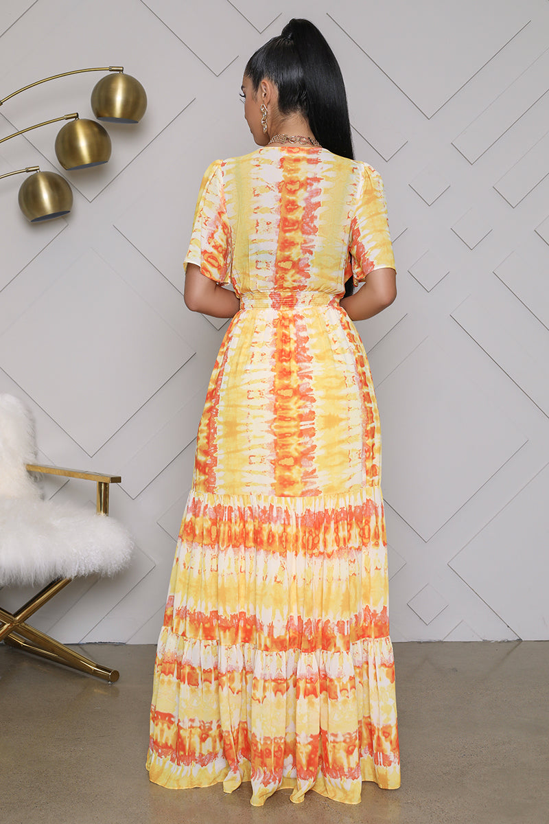 Tie Dye Maxi Dress (Yellow/Orange)