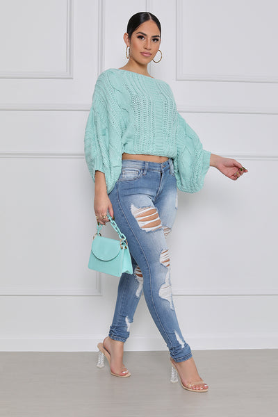 Make Me Smile Cropped Sweater (Mint)