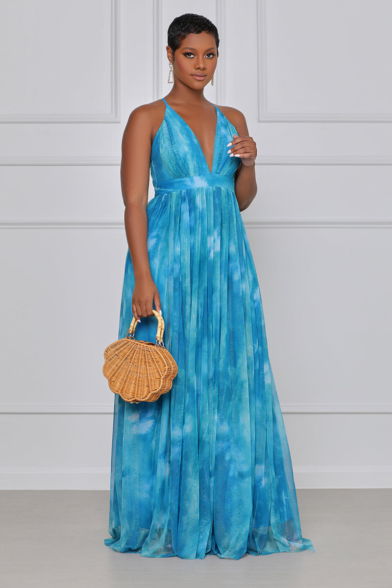 Halter Mesh Maxi Dress (Ocean Blue)