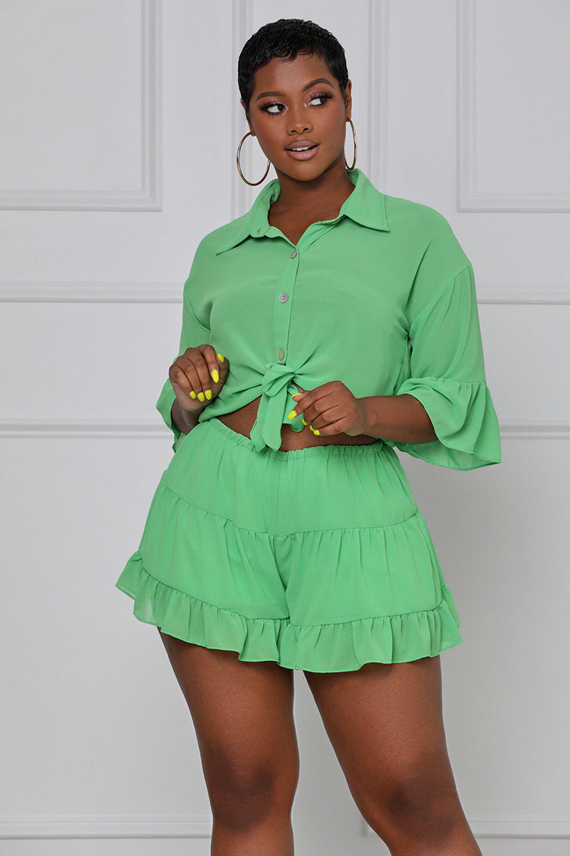 Body Moves Button Up Romper (Green)