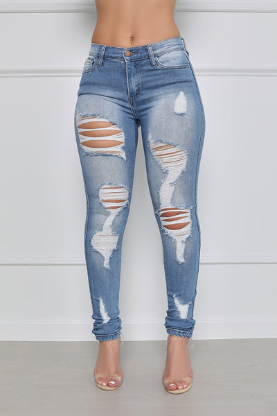 It's Trending Mid-Rise Distressed Skinny Jeans