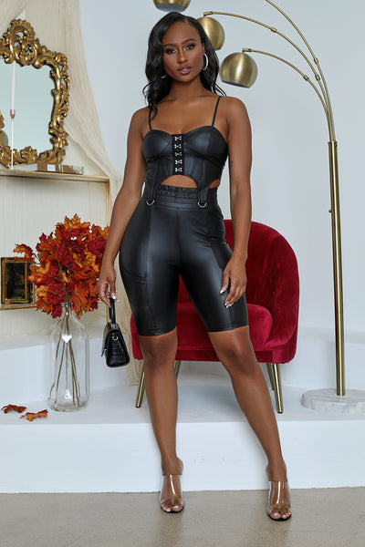 Faux Leather Biker Short Set (Black)- FINAL SALE