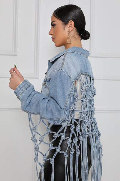 Tongue Tied Cropped Denim Jacket