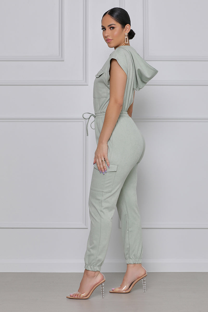 Make Your Mark Hooded Utility Jumpsuit (Sage)