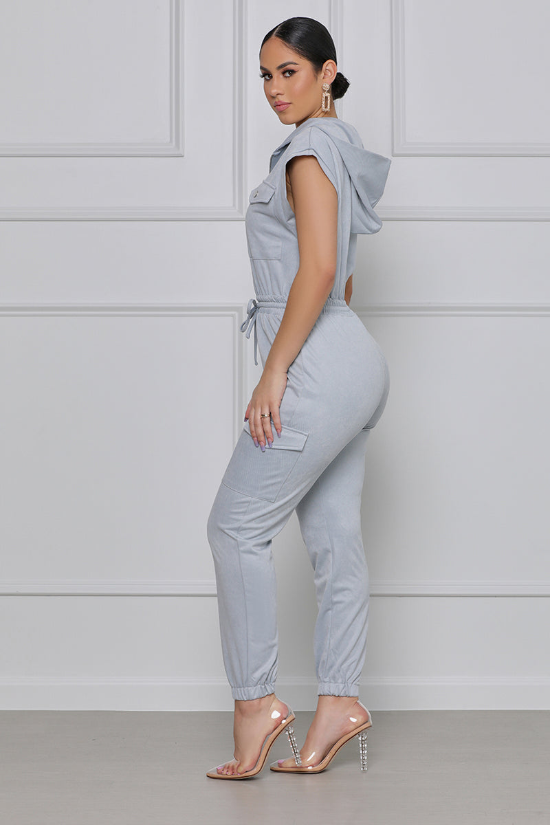 Make Your Mark Hooded Utility Jumpsuit (Light Blue)