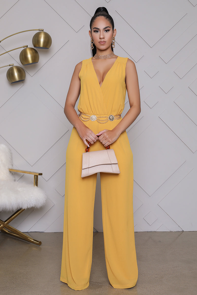 Wide Leg V-Neck Jumpsuit (Mustard)