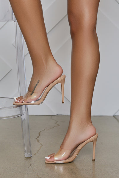 Hugo Transparent Peep Toe Mule (Clear)