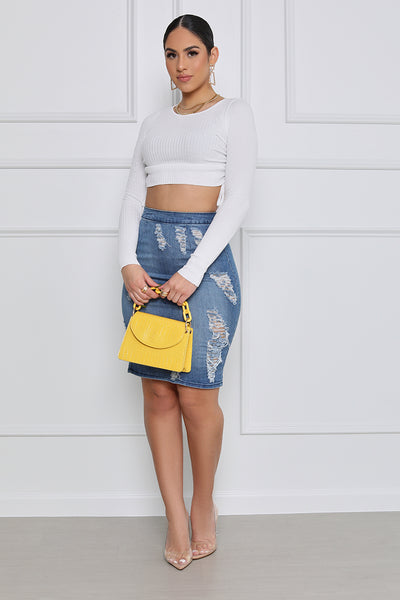 Free Spirit High Waist Distressed Denim Skirt