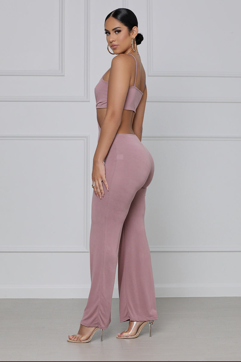 Cut To The Chase Spaghetti Strap Jumpsuit (Mauve)