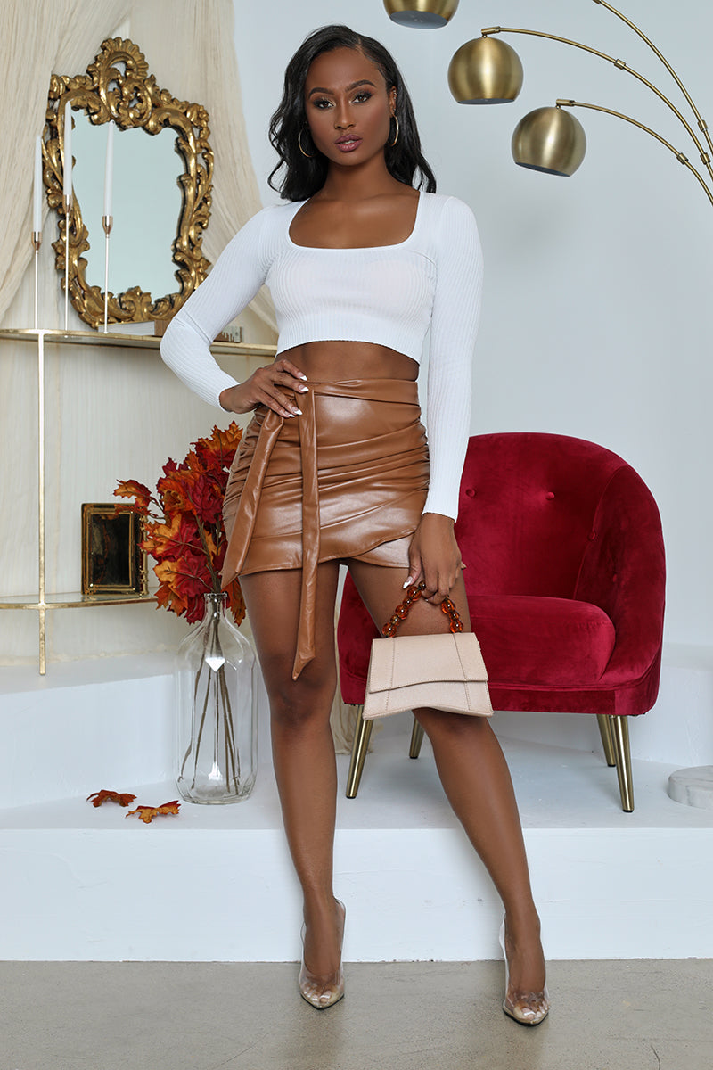 Faux Leather Mini Skirt (Brown)