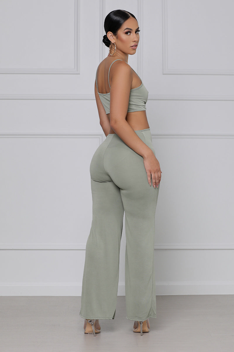 Cut To The Chase Spaghetti Strap Jumpsuit (Olive)