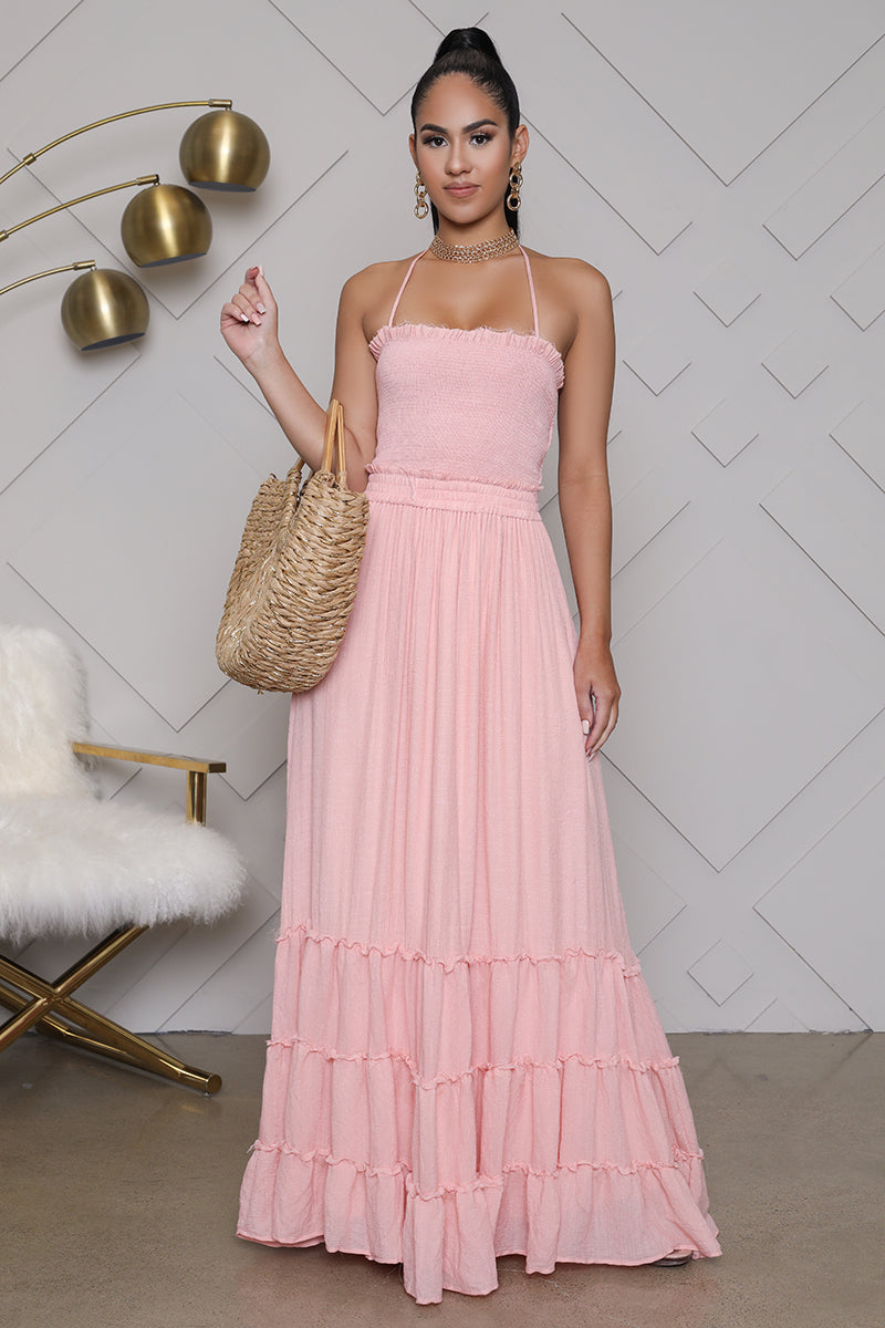 Pleated Smocked Maxi Dress (Pink)