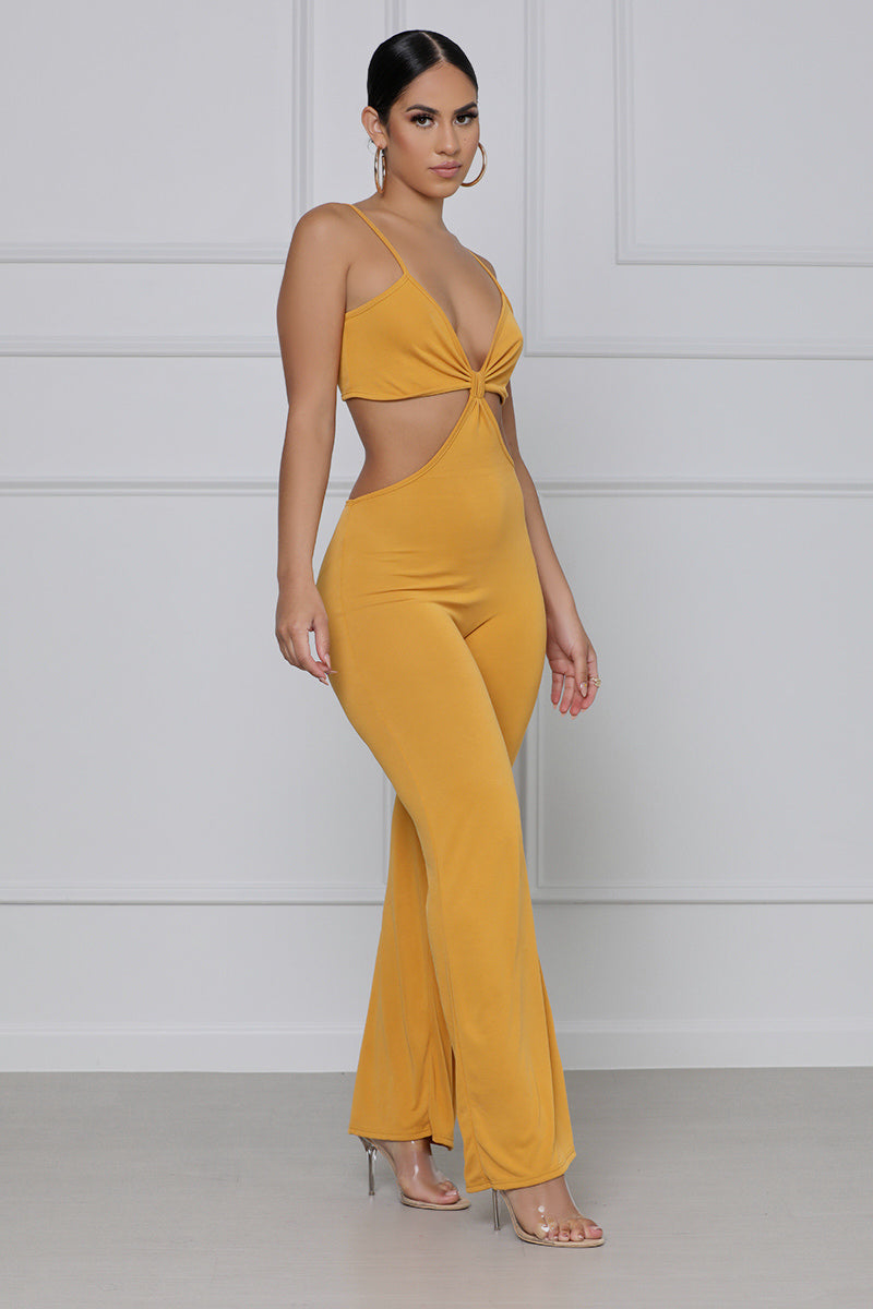 Cut To The Chase Spaghetti Strap Jumpsuit (Mustard)