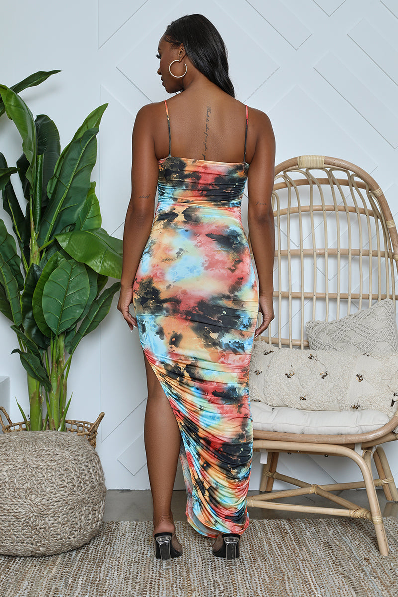 Watercolor Ruched Bodycon Maxi (Multi)