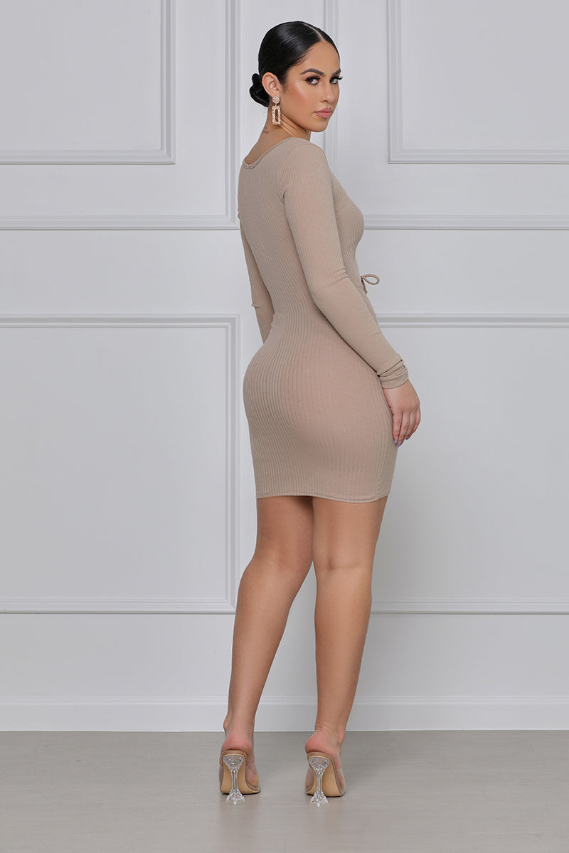 Tell Me Something Ruched Cut-Out Dress (Nude)