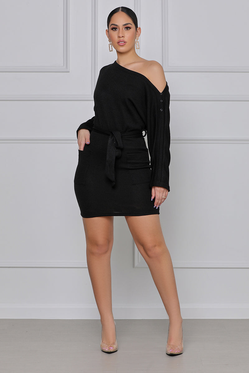 What You Need One-Shoulder Belted Dress (Black)