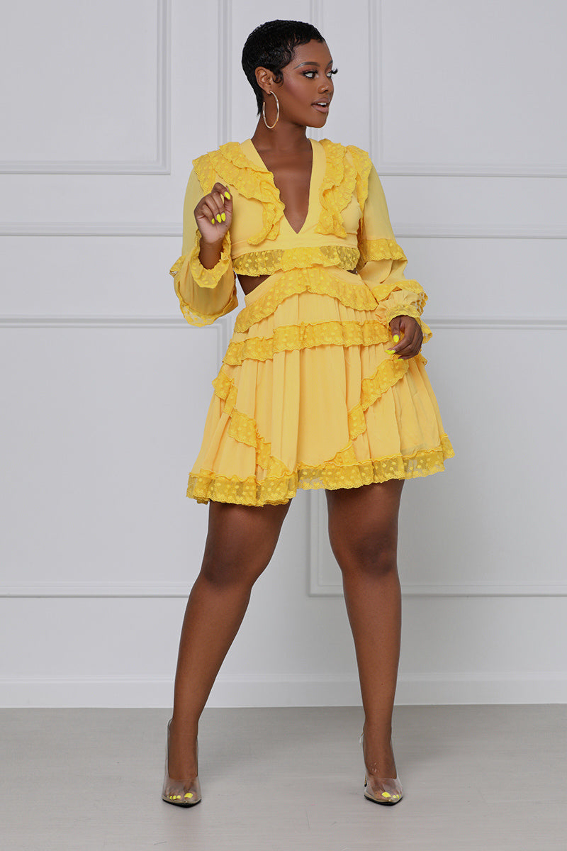 Brighten My Day Cut Out Mini Dress (Yellow)