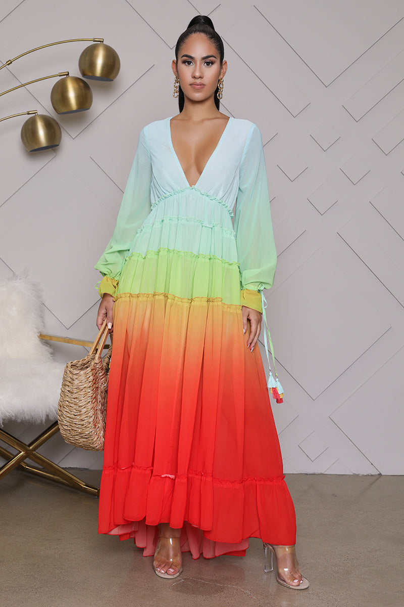 Ombre Deep V-Neck Maxi Dress