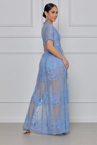 Float Away Boho Maxi Romper (Blue)