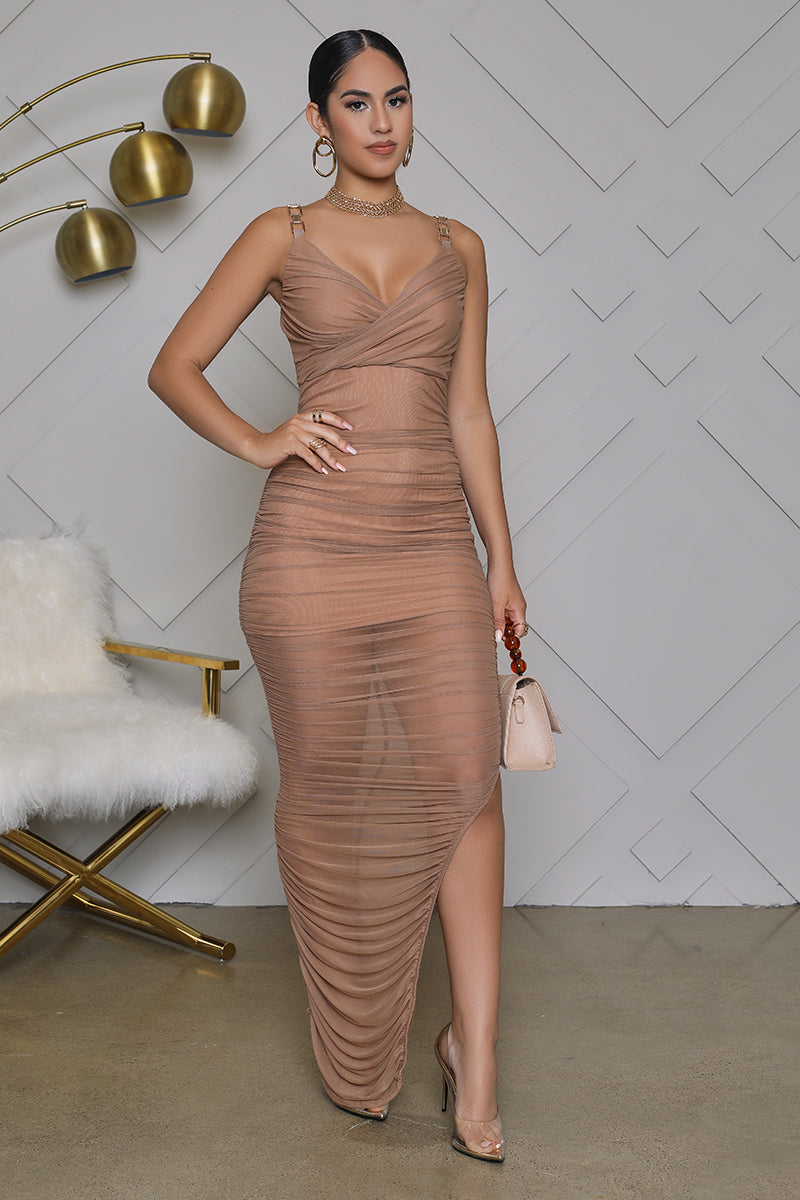 Sheer Ruched Bodycon Midi Dress (Taupe)
