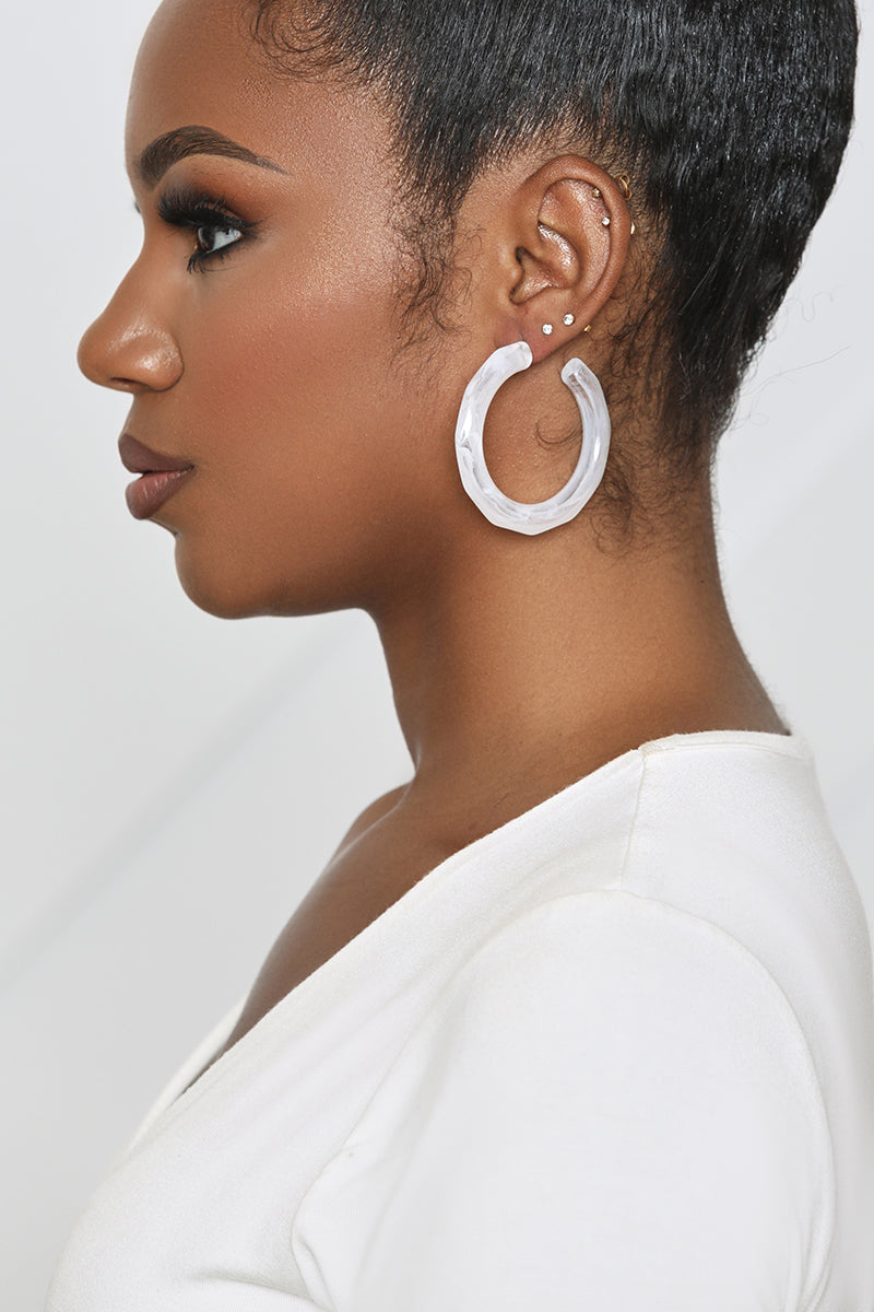 Frosted White Hoop Earring (Clear)