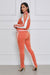 Cold Shoulder Jogger Set (Orange & White)