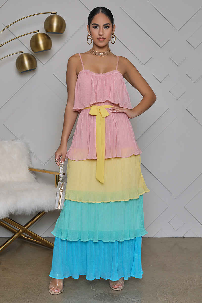 Ruffle Color Block Maxi Dress