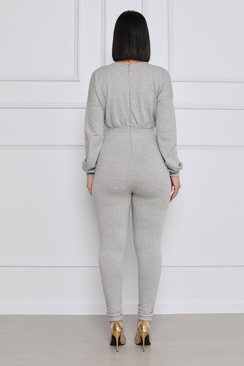 Let's Get It Longsleeve Jumpsuit (Grey)