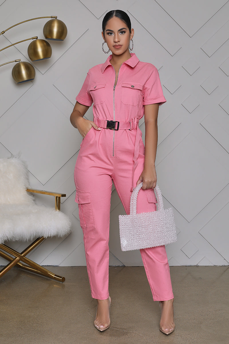 Utility Cargo Belted Jumpsuit (Pink)