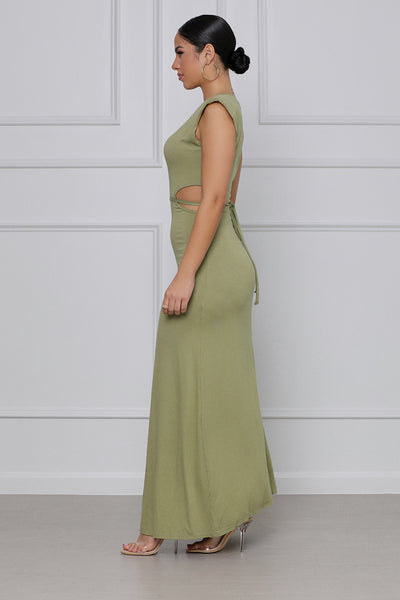 Cut it Out Padded Maxi Dress (Olive)