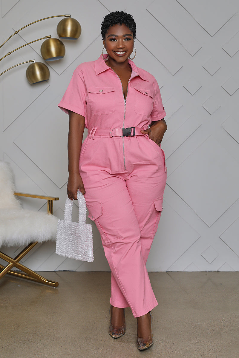 Curvy Utility Cargo Belted Jumpsuit (Pink)