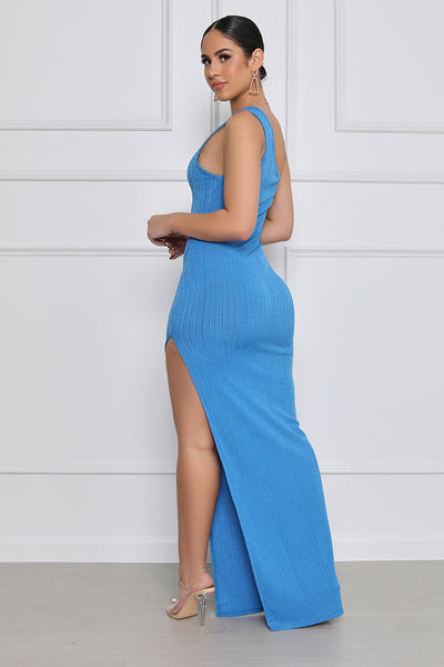 In Paradise Ribbed One-Shoulder High Slit Maxi Dress