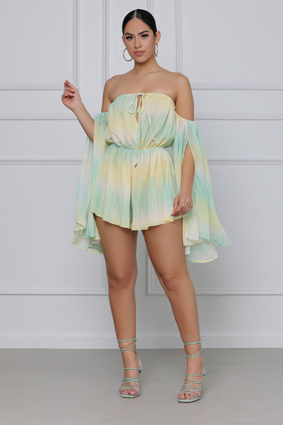 Main Squeeze Tie Dye Romper (Green & Yellow)