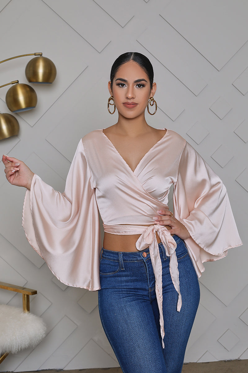 Bell Sleeve Satin Wrap Tie Top