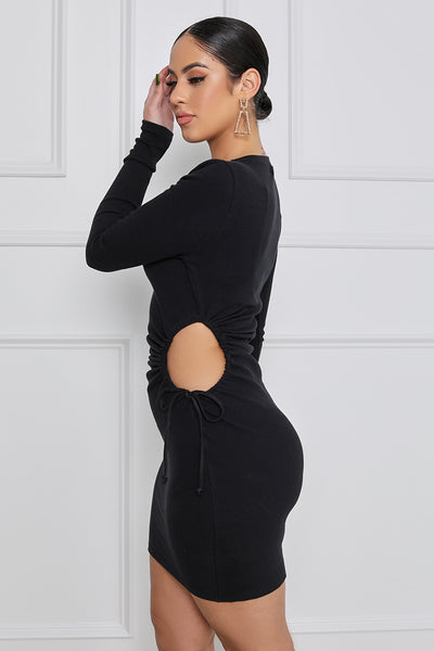 Your Attention, Please Draw String Cut Out Long Sleeve Mini Dress (Black)