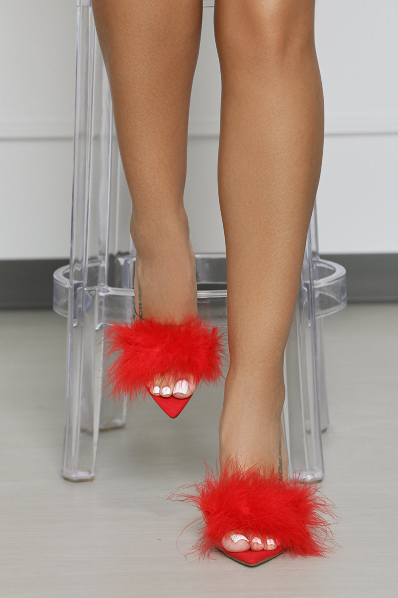 Faux Feather Mule (Red)- FINAL SALE