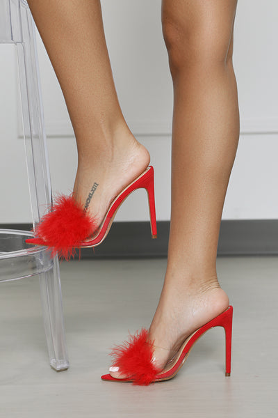 Faux Feather Mule (Red)