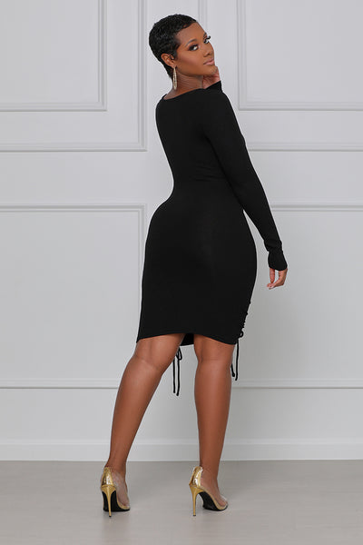 Keep It Kute Ruched Mini Dress (Black)