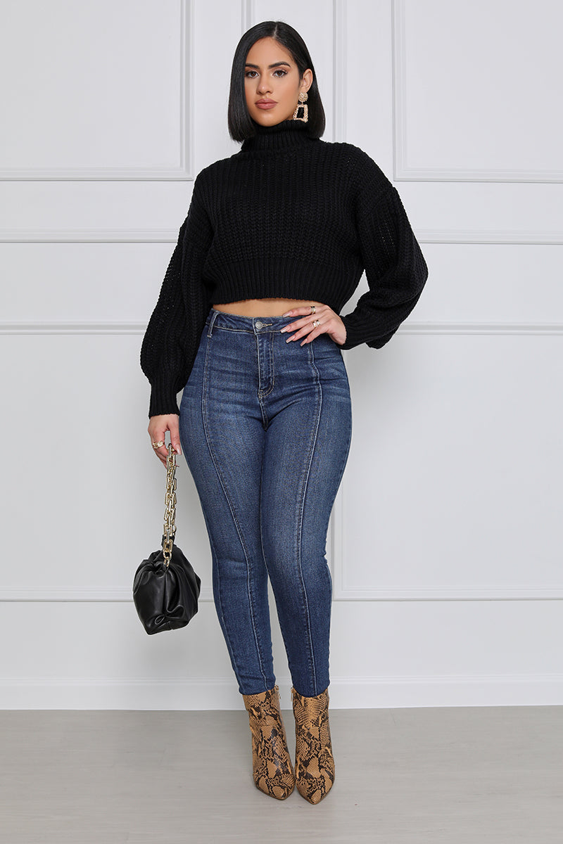 Heart & Soul Cropped Turtle Neck Sweater (Black)