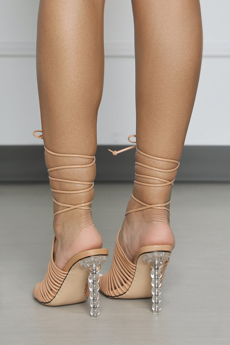 Woven Lace Up Heel (Nude)- FINAL SALE