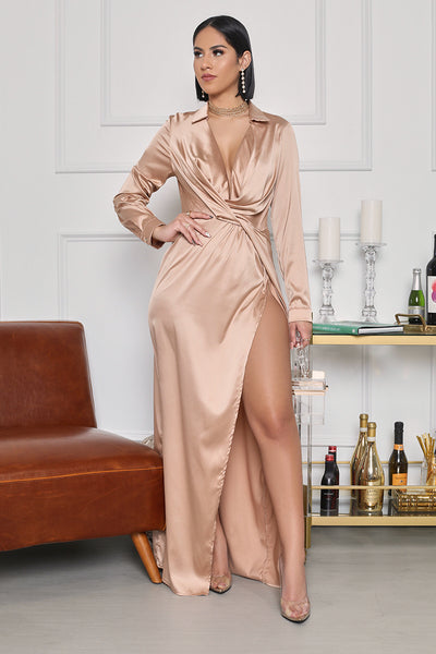 Evening Debut High Slit Satin Maxi Dress (Champagne)- FINAL SALE