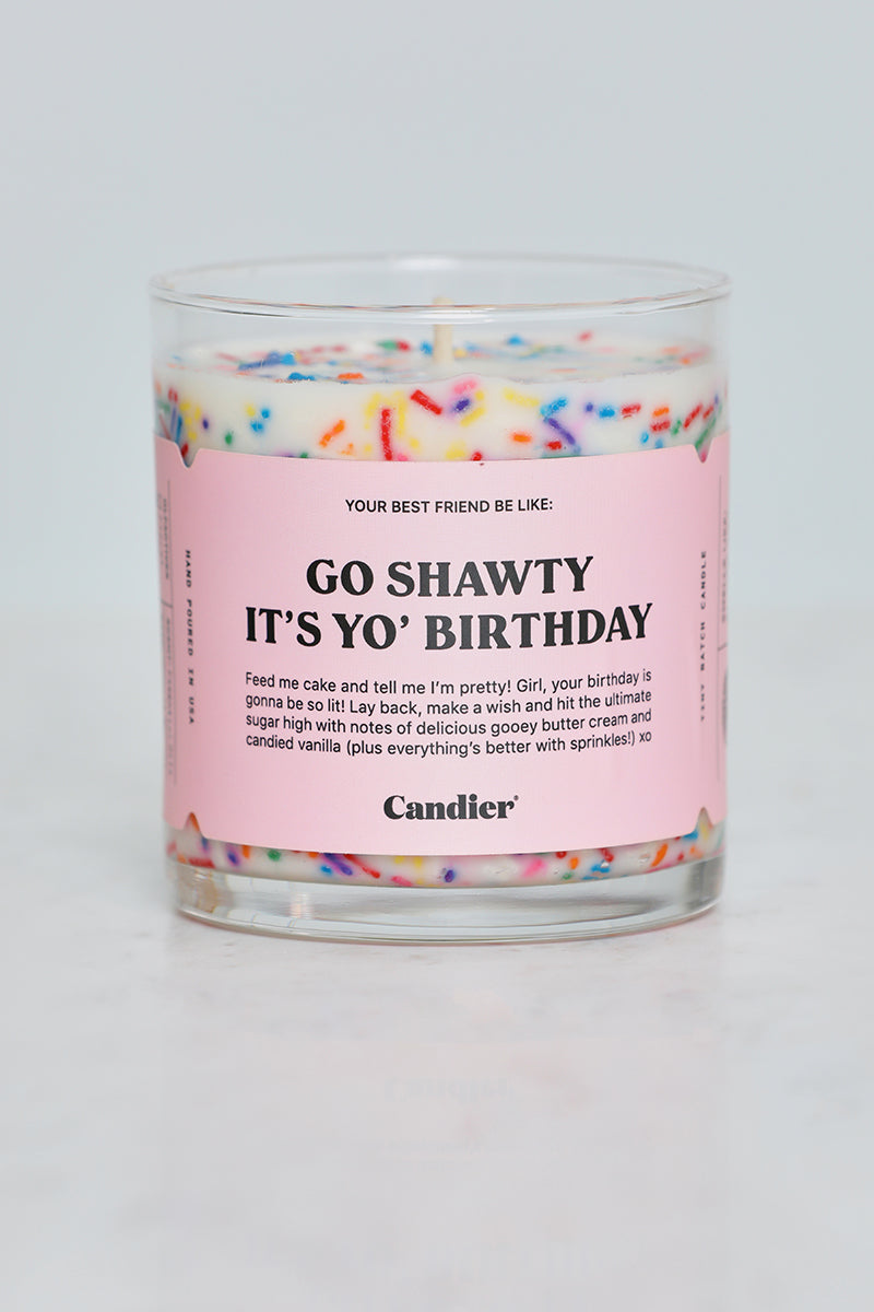 Go Shawty It's Yo' Birthday Cake Candle (White Multi)