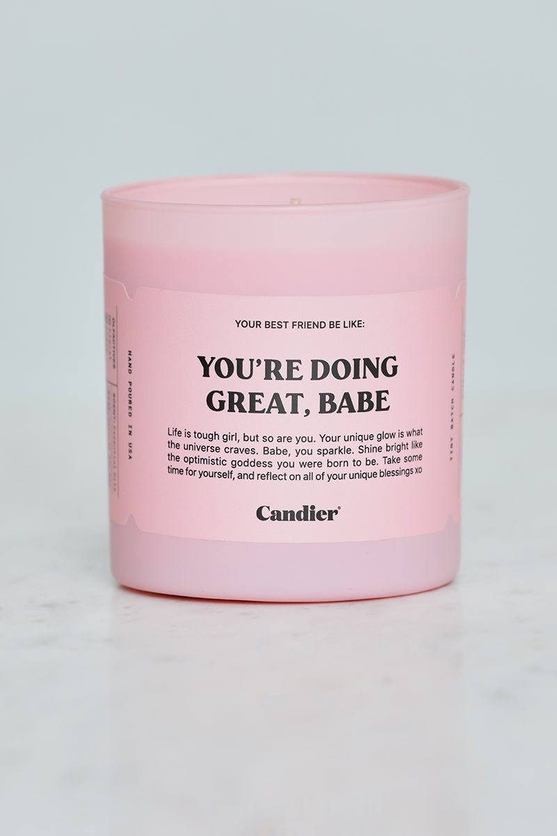 You're Doing Great, Babe Candle (Pink)