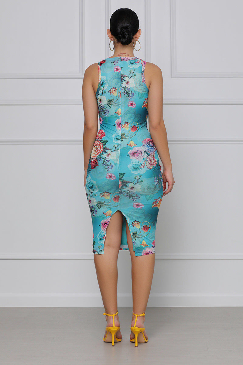 Tattoo My Heart Floral Mesh Dress (Aqua)