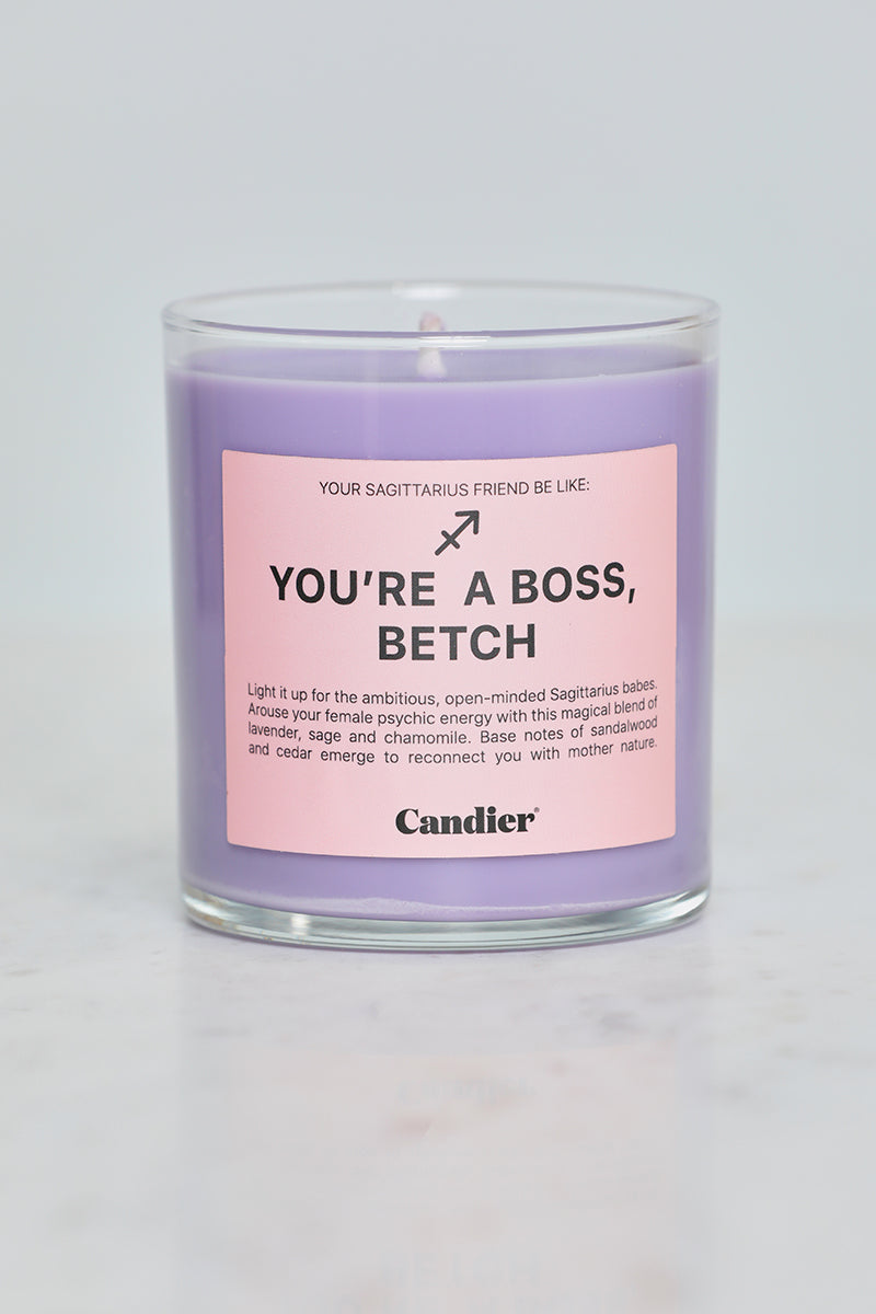 You're A Boss, Betch Sagittarius Candle (Light Purple)